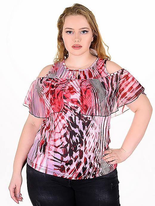 Оригинална блуза с модерен принт (червен)