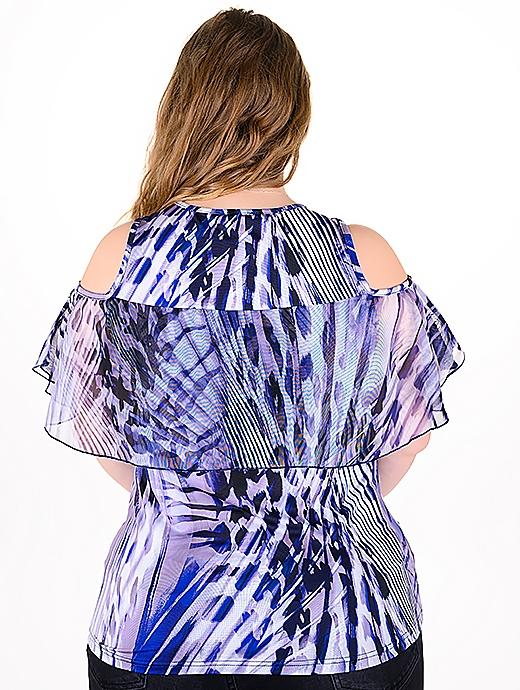 Оригинална блуза с модерен принт (син)