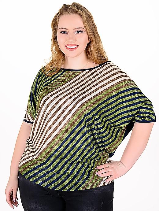 Макси блуза от цветни раета (зелен)