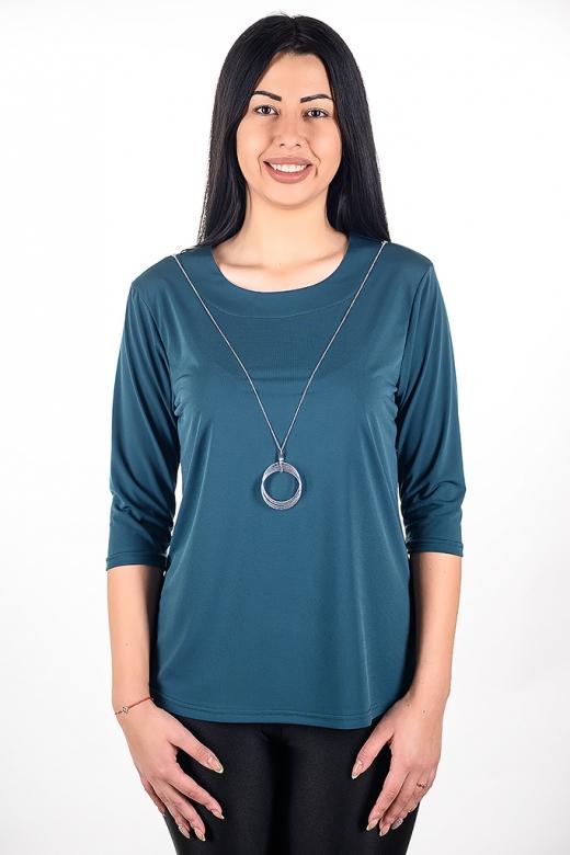 Официална блуза с гердан (маслено зелено)