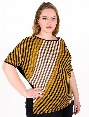 Макси блуза от цветни раета (жълт)