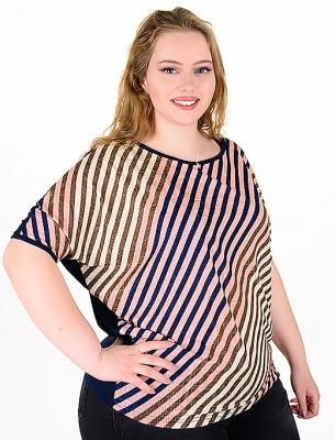 Макси блуза от цветни раета (розов)