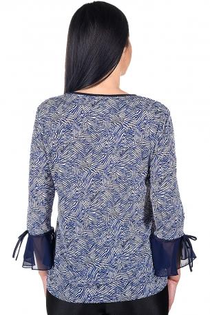 Блуза подходяща за официални поводи с розичка от шифон (син)
