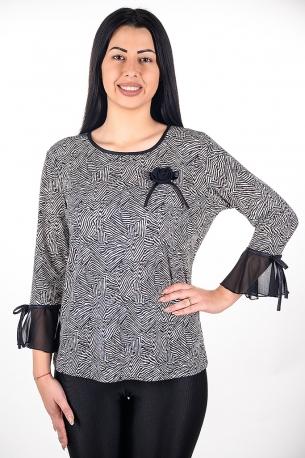 Блуза подходяща за официални поводи с розичка от шифон (черен)