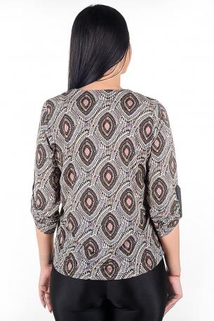 Ежедневна блуза с цип, изработена от трико с оргинален принт (шарено)