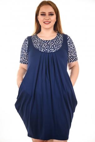 Рокля имитация сукман с блуза (тъмно син с бели точки и сърца)
