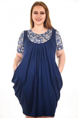 Рокля имитация сукман с блуза (тъмно син с цветя)