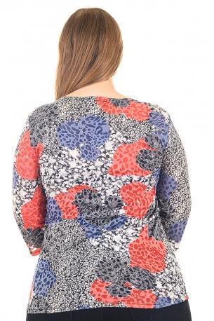 Блуза тип риза от естествена материя. Мека и удобна (шарен с оранжеви цветя)