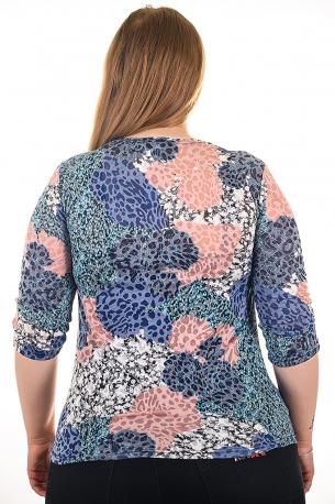 Блуза тип риза от естествена материя. Мека и удобна (шарен с пудрени цветя)