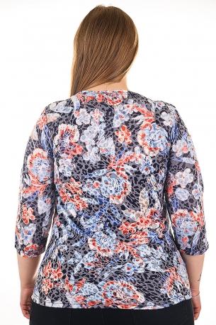 Блуза тип риза от естествена материя. Мека и удобна (шарен с цветя)