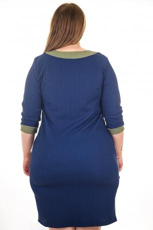 Елегантна рокля с оргинална апликация (син)