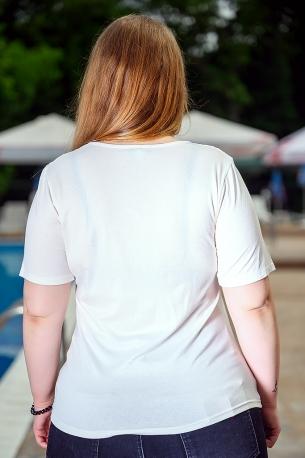 Блуза с дантела от естествена материя (шампанско)