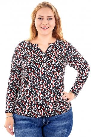 Цветна риза подходяща за всякакви поводи (черен с бели и оранжеви листенца)
