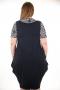 Рокля имитация сукман с блуза (черен с цветя)